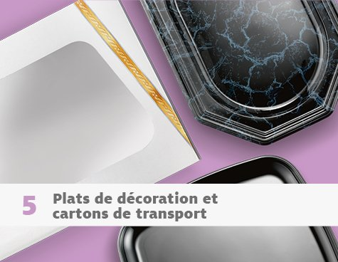 Plats de décoration et cartons de transport